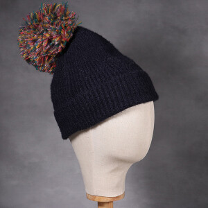 Ladies Ribbed Soft Knit Hat With Multicolour Pom Pom Navy