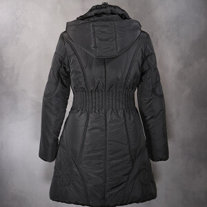 Long Puffer Coat Charcoal Stripe