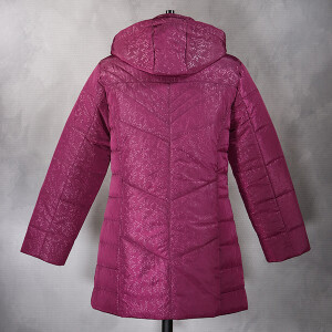 Padded Coat With Hood Embossed Floral Dark Raspberry