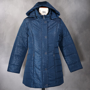 Padded Coat With Hood Embossed Floral Dark Teal