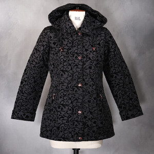 Flocked Floral Coat Black