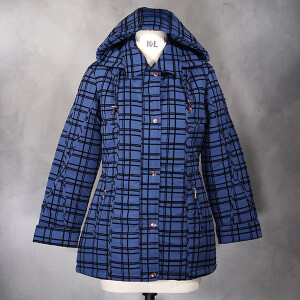 Flocked Check Coat Hooded French Navy