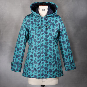Hooded Coat In Gingko Print Deco Green