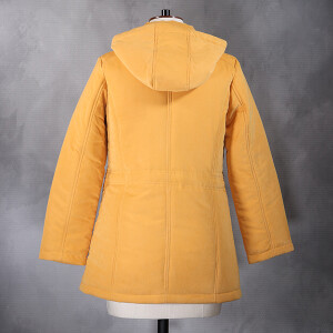 Hooded Coat With Plaited Baffle Detail Gold