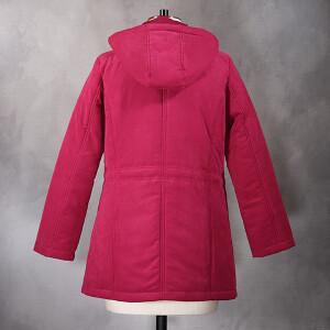 Hooded Coat With Plaited Baffle Detail Raspberry