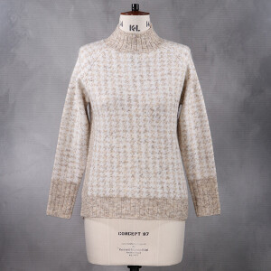 Houndstooth Knitted Jumper Ribbed Trim Cream Beige