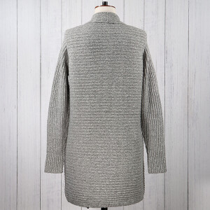 Knitted Coatigan Ribbed Silver