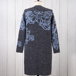 Knitted Coatigan Floral Jacquard Navy