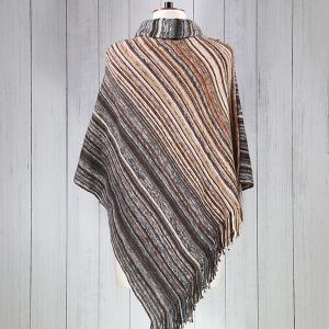 Woven Stripe Tassel Poncho Brown