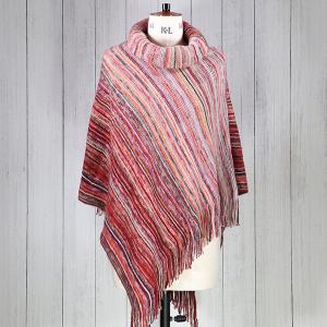 Woven Stripe Tassel Poncho Pink