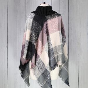 Boucle Check Poncho Black Pink Grey
