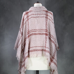 Boucle Check Poncho Violet Brown