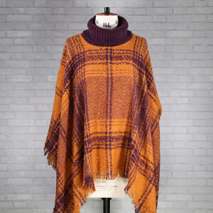 Boucle Check Poncho Brown Purple Pumpkin