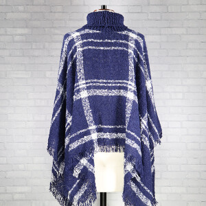 Boucle Check Poncho Navy Off White