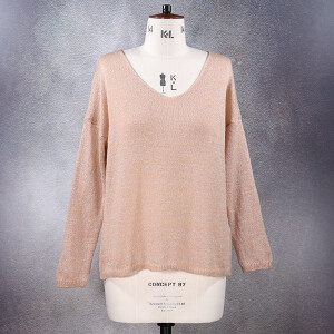 V-neck Fine Knit Lurex Jumper 3 Pockets Pale Pink