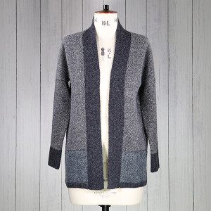 Coatigan With Knitted Block Border Navy Blue