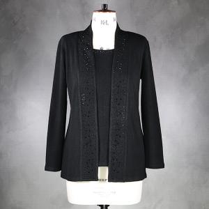 Cardigan And Vest Insert With Heatstone Edging Black