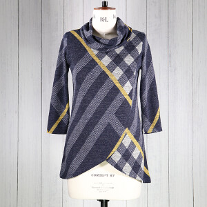 Top Wrap Over Check Knit Navy Yellow