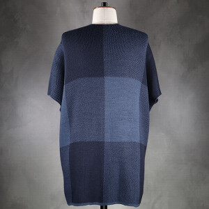 Cape With Large Knitted Check Navy Blue