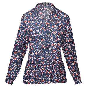 Floral Print Woven Crinkle Blouse Navy