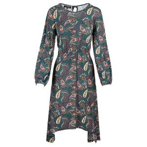 Long sleeved Dress Hanky Hem Paisley Print Ivy