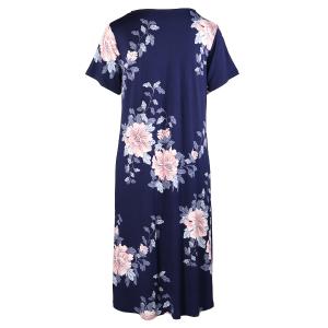 Japanese Garden Print Short Sleeved Nightdress Navy