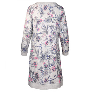 Neon Floral Print Long Sleeved Nightdress Grey