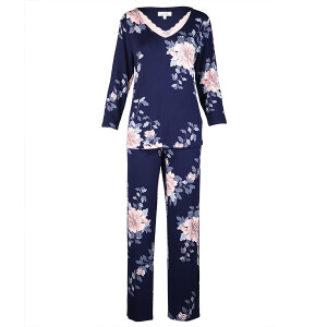 Japanese Garden Print Long Sleeved Pyjama Navy