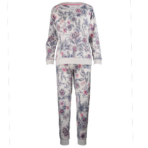 Neon Floral Print Long Sleeved Pyjama Grey