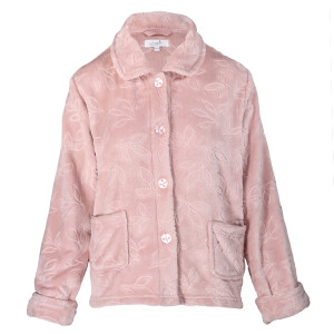 Embossed Leaf Super Soft Bed Jacket Pink