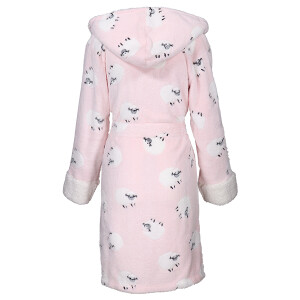 Ladies Soft Sheep Print Robe Pink
