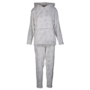 Fleecy Star Print Pyjama Set Grey