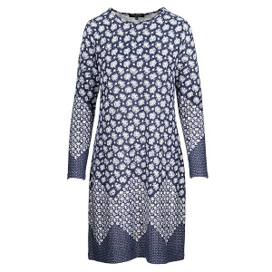 Dress With Geo Border Blue Grey Marl