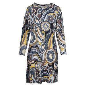 Dress With Spiral Print Navy Blue Moss