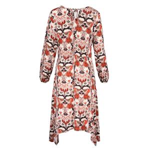 Long sleeved Dress Hanky Hem Morris Print Grey