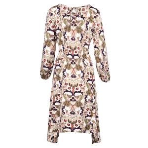 Long sleeved Dress Hanky Hem Morris Print Beige