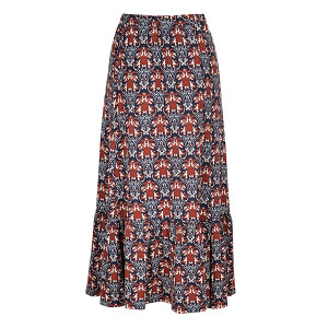 Printed Skirt with Frill Hem Navy Brown Scarab