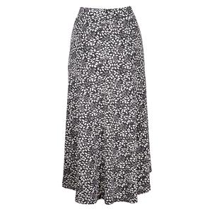 Midi Skirt Leaf Print Charcoal