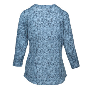 Floral Top Pleated Front Blue Ink