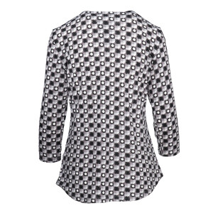 Geo Print Top Pleated Front Charcoal