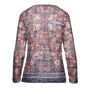 Burnout Top With Baroque Print Long sleeved Charcoal Orange