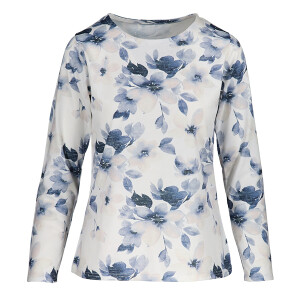 Floral Top Soft Knit Long sleeved White Blue