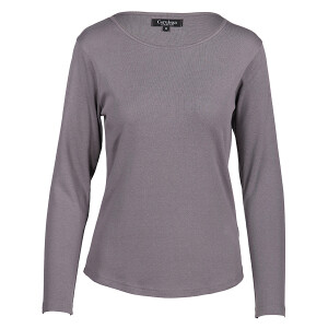 1×1 Rib Round Neck Long Sleeved Tee Charcoal