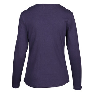 1×1 Rib Round Neck Long Sleeved Tee Dark Blue