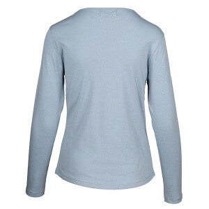 1×1 Rib Round Neck Long Sleeved Tee Light Blue