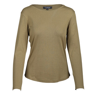 1×1 Rib Round Neck Long Sleeved Tee Olive