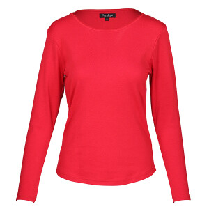 1×1 Rib Round Neck Long Sleeved Tee Red