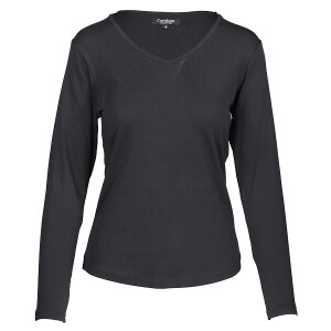1×1 Rib V-neck Long Sleeved Tee Black