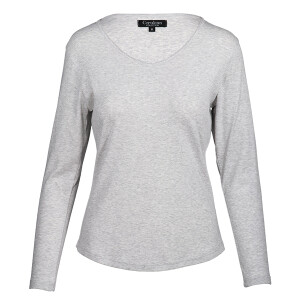 1×1 Rib V-neck Long Sleeved Tee Grey Marl