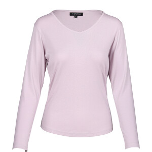 1×1 Rib V-neck Long Sleeved Tee Iris